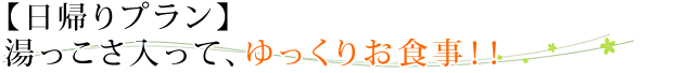 【日帰りプラン】湯っこさ入って、ゆっくりお食事!!